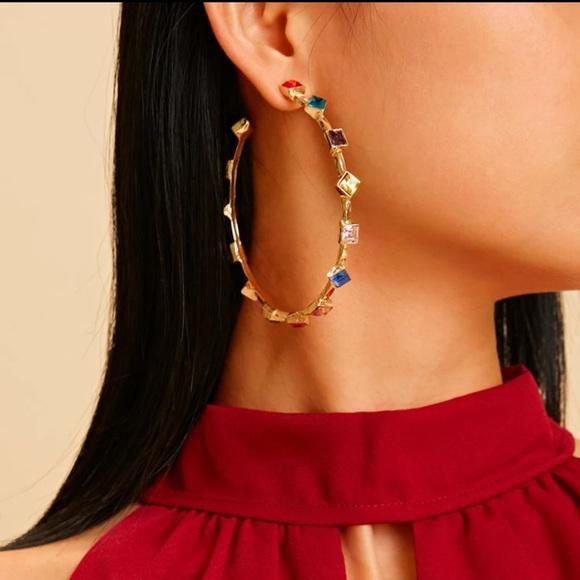 Gemstone Decor Cuff Hoop Earrings